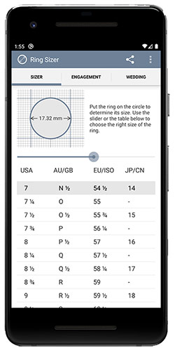 "Mobile app ""RingSizer"" for iPhone"