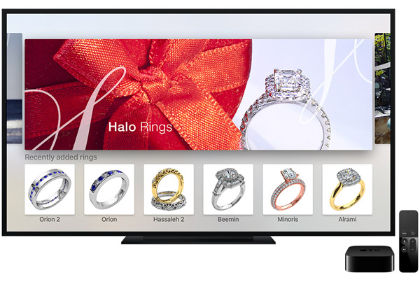 """Engagement Rings"" app for Apple TV - Featured screen"